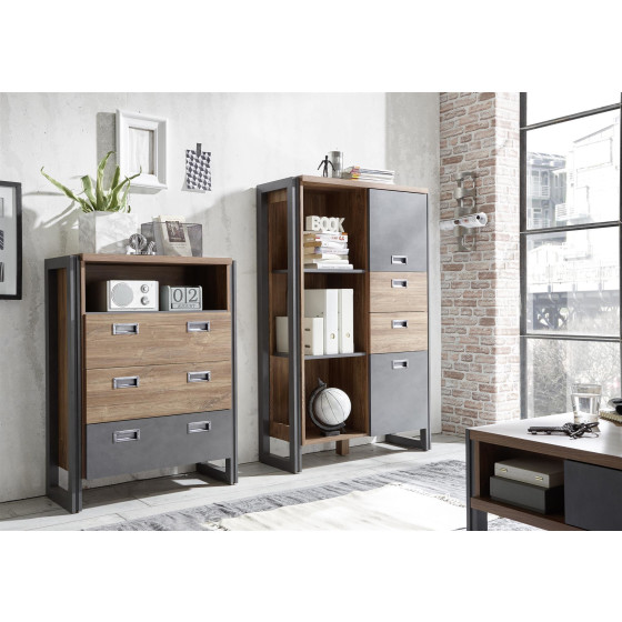 Highboard Detroit I - Korpus / Front Stirling Oak NB / Applikation Schiefer
