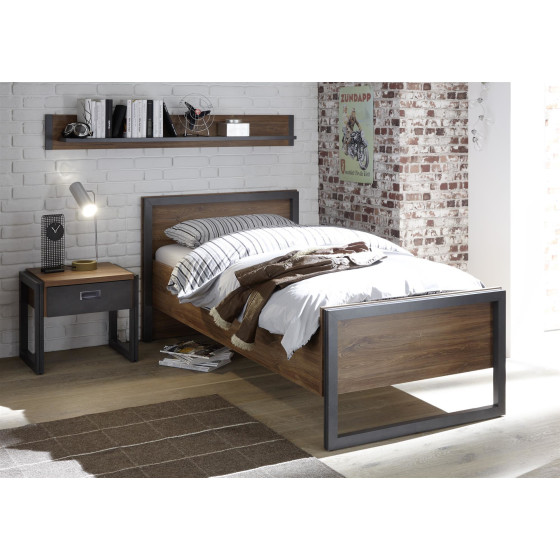 Bett Detroit I - Korpus Stirling Oak NB / Applikation Schiefer