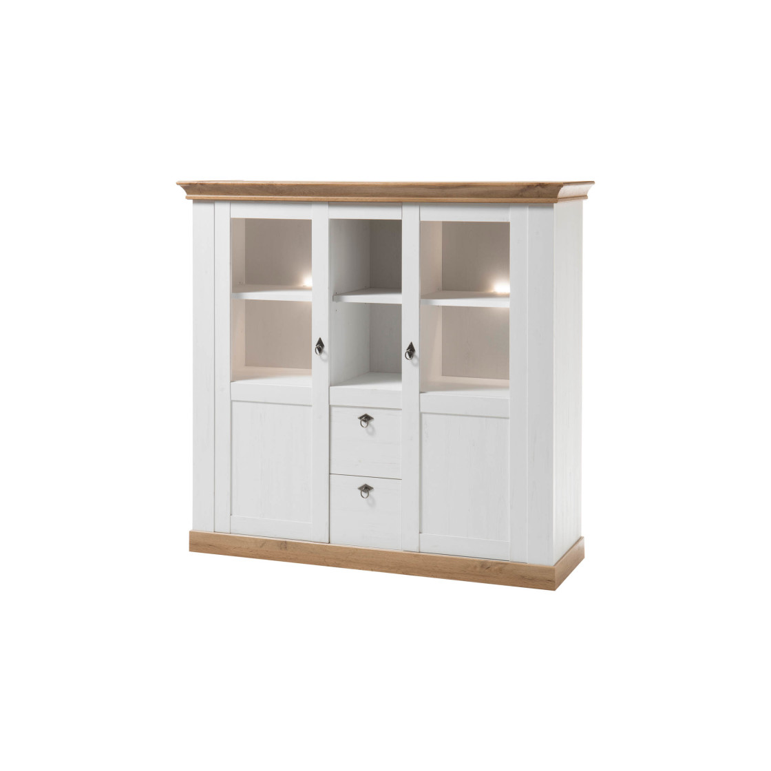 Highboard Landhaus - Pinie Weiß / Applikation Wotan Eiche, 369,00 €